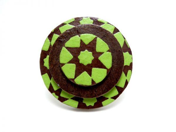 Bague ronde en carton marron/vert